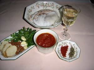 Ingredientes para pulpito con salsa de almendras