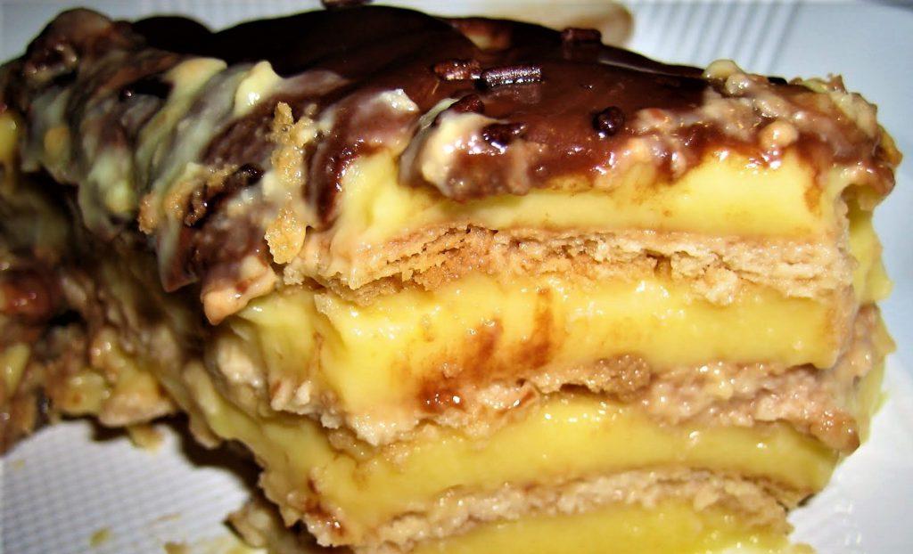 Tarta de flan y galletas